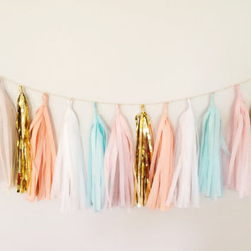 Mint, Peach Blush, and Gold Tassel Garland Banner - 17 Tassel Party Decor, Wedding Decor, Birthday Party, Photo Backdrop, Baby Shower