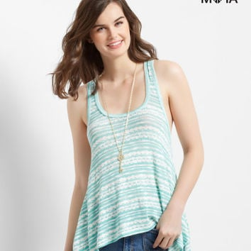 Sheer Striped Knit Sharkbite Tank