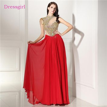 Red 2018 Prom Dresses A-line High Collar Chiffon Crystals See Through Long Women Prom Gown Evening Dresses Robe De Soiree