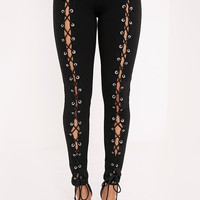 Lynda Black Front Lace Up Skinny Trousers