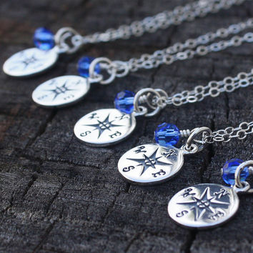 Nautical Bridesmaid Necklaces - Personalized Sterling Silver Compass . Wedding . Bridal Accessories . Personalized Bridesmaid Jewelry, Gifts