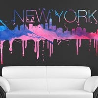New York watercolor skyline decal for housewares (XXL)