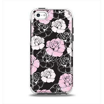 The Pink and Black Rose Pattern V3 Apple iPhone 5c Otterbox Symmetry Case Skin Set
