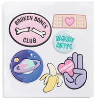 Skinnydip 'Broken Bones' Plushie Stickers - Pink (Set of 6)