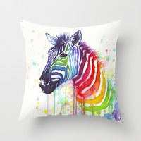Rainbow Zebra Watercolor Painting | Ode to Fruit Stripes Throw Pillow by Olechka