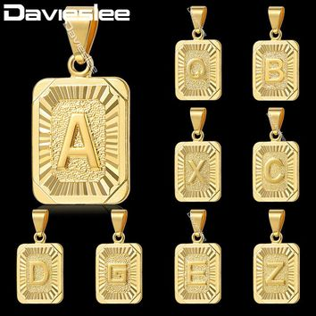 Davieslee Gold Filled Charm Pendant Capital Initial Letter Fashion Design Mens Womens Chain Necklace GP57-61