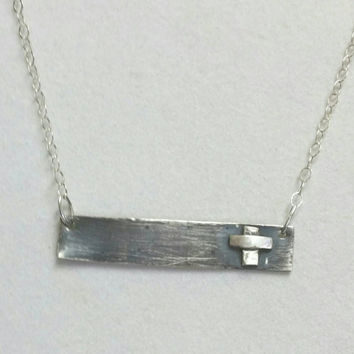 Silver Bar Necklace,  Rustic Cross Pendant,  Blackened Sterling Silver, 20 inch Necklace, Christian Faith Jewelry by  Maggie McMane Design