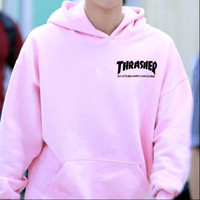 """""""Thrasher""""Quality hooded sweater flame slide hip sweater Letters on the side Pink"""