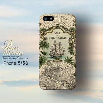 Antique Map of the world print, iPhone 5 case, iPhone 4S case, Decoupage case for iPhone.