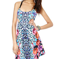 Animal Floral Print Strappy Sleeveless Backless Bodycon Dress
