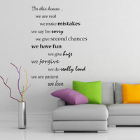In this House We Do and Are Family, We Love, Inspirational Text Quote Wall Sticker Vinyl Decal for Home Room. Art DIY Decor Sign Mural!
