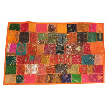 Mogul Indian Tapestry Colorful Reds,Oranges, Green, Gold, Black, Teal, Sequin Embroidered Patchwork Table Runner Wall Decor - Walmart.com
