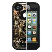 Otterbox Defender Realtree Series Hybrid Case & Holster for iPhone 4 & 4S - Retail Packaging - Black/Max 4 Camo Pattern