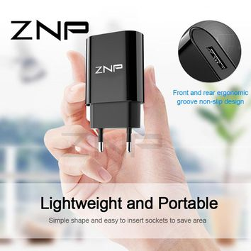 ZNP Universal Portable USB Charger For iphone 6 7 8 EU Wall Adapter Mobile Phone Charger For Samsung s7 s8 s9 Charger USB Cable