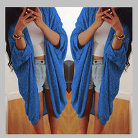 Batwing Solid Pleated Loose Long Cardigan