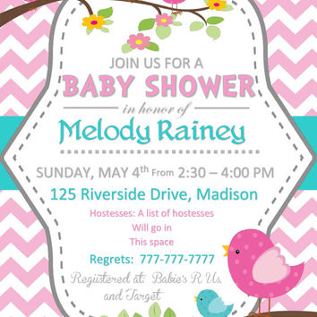 Printable DIY Baby Shower for A Baby Girl Invitations with Birds and Chevron Pink and Teal