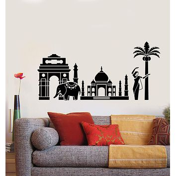 Vinyl Wall Decal India Landscape Hindu Elephant Girl Belly Dancer Stickers (2461ig)
