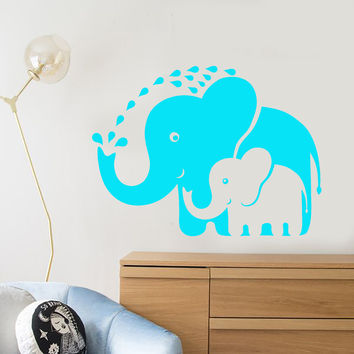 Vinyl Wall Decal Cartoon Funny Elephants Family Nursery Room Stickers Unique Gift (1412ig)