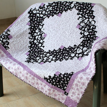 Log Cabin Quilt - Purple Black Quilt - Lap Quilt - Sofa Throw - Floral Table Topper - Wall Hanging - Log Cabin Blanket - Modern Quilt