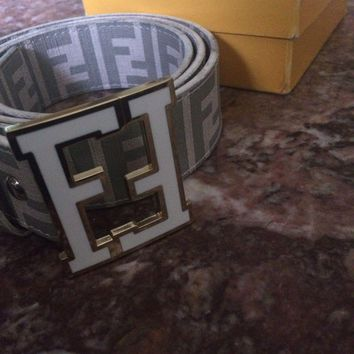 Men's White Fendi Belt Tagre™