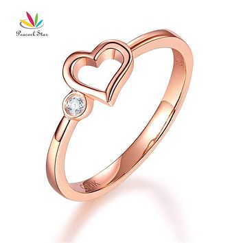 Peacock Star 14K Rose Gold Wedding Band Anniversary Heart Bridal Ring 0.02 Ct Diamond