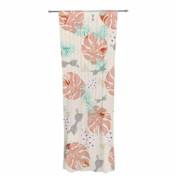 "Mmartabc ""Pattern Tropical Beach"" Coral Green Illustration Decorative Sheer Curtain"