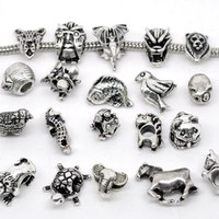 Ten (10) Pack of Assorted Animal Charm Spacer Beads.
