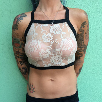Handmade Cream Rose Lace with Black elastic trim Halter Bralette Bra Halter Top Lingerie Sexy See-thru Valentine's Day