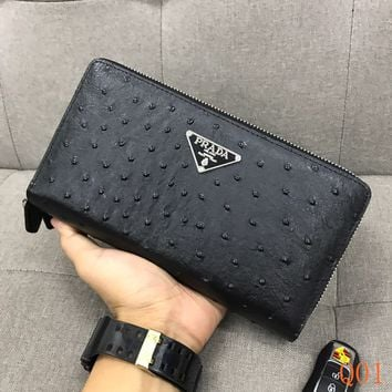 HCXX 19Aug 1003 Prada Leather Fashion Clutch Bag Casual Wristle 28-18-6cm