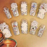 Wedding Nails - Moonlight Wedding Date - 3D false fake press-on nail art - Japanese Nail Art - 3D Acrylic Nail Art
