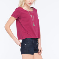 Full Tilt Essential Womens Easy Tee Burgundy  In Sizes