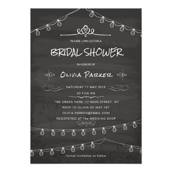 Vintage Chalkboard Bridal Shower Invitation Card