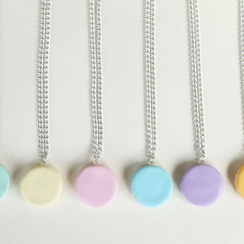 Macaron Necklace, Miniature Food Jewelry Macaron, Polymer Clay Jewelry/Jewellery, Rainbow Colorful Pastel Colors Pink Purple Blue Green