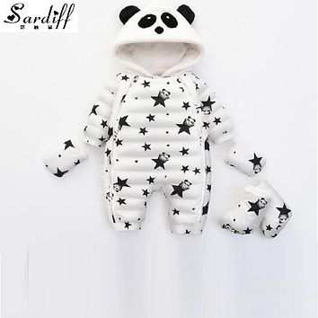 2017 Chirldren's Clothing Girl Boys Duck Down Baby Star Jackets Snowsuit Girls Newborn Hood Clothes Snow Suits Infant Outwear