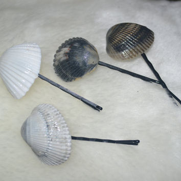 Seashell Bobby Pins Set of Four