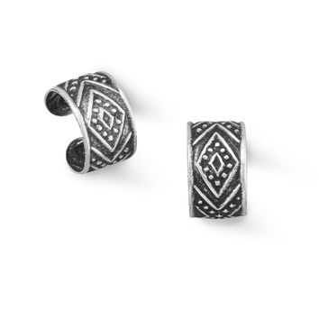 Set of 2 Sterling Silver Antiqued Tribal Designed Ear Cuffs