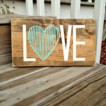 Wood Love Sign, Nursery Sign, Wooden Love Sign, Painted Sign, Baby Shower Gift, Mother's Day Gift, Rustic Nursery, Wood Heart Sign