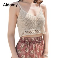 Knitted Cami Top Women Summer Beach Wear Camisole Sexy V-Neck Crochet Knit Crop Top Female Boho Style Hollow Out Tank Tops