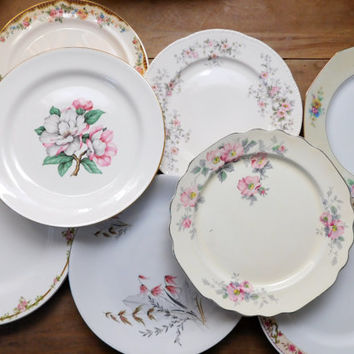 Mismatched China Dinner Plates Floral Mid Century Set of 8 & Best Floral China Dinner Plates Products on Wanelo