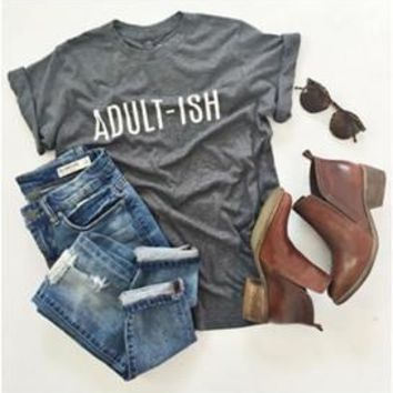New Arrive Unisex Casual Crewneck ADULI-ISH Funny Letter T-Shirt Graphic Outfits Hipster Hip Hop Top Cotton Lady Tee Shirts