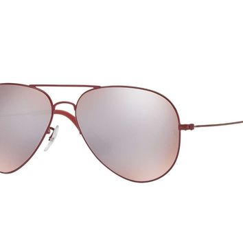 New Ray Ban RB3558 9017/B5 58MM Red Aviator Sunglasses w/ Silver Mirrored lenses