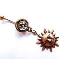 Dichroic Glass Rainbow Copper Sun Belly Button Ring Charm Dangle Jewelry Navel Piercing Long Charm Bellyring Bar