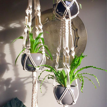 "Set of Large Macramé Plant Hangers ""Elsa"" Single Double Bulky Chunky Natural White Boho Hippie Retro 70s Plants Thick Brass Beads Vintage"