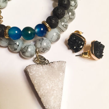 Druzy earth stone jewelry set