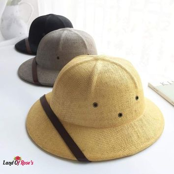 Toquilla Straw Helmet Pith Sun Hats Boater Bucket Hats Safari Jungle Miners Cap