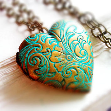 Patina Heart Locket Statement Necklace Floral Locket Birthstone Necklace Heart Locket Verdigris Mother's Day Jewelry Mother's Day Gift