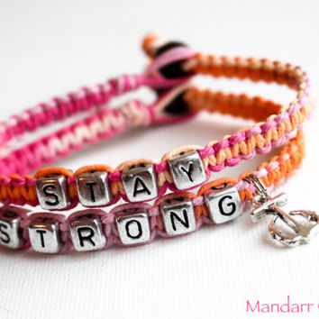 Anchor Stay Strong Bracelet, Handmade Recovery Bracelet, Sherbet Macrame Hemp Jewelry, Gift for Her, Pink and Orange