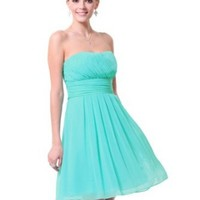 Ever Pretty Strapless Ruffles Empire Waist Chiffon Padded Prom Dress 03541