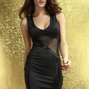Black Sleeveless Mini Dress with Tulle Insert