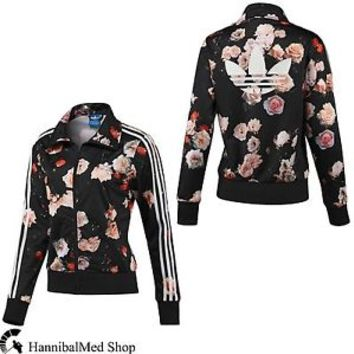 Adidas Originals Firebird Track Top Roses Flower Print F78292 Women Black Jacket
